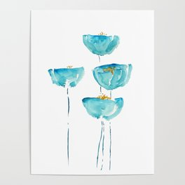 blue poppy watercolor Poster