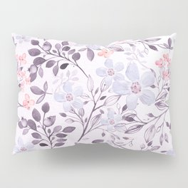 Hand painted modern pink lavender watercolor floral Pillow Sham