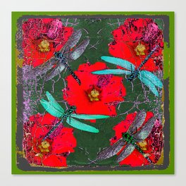 ANTIQUE CRACKLED  BLUE DRAGONFLIES ON RED HOLLYHOCK FLOWERS Canvas Print