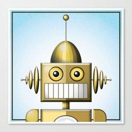 Gold Robot Head Shot Canvas Print