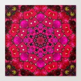 Garden mosaic kaleidoscope mandala - hot pinks Canvas Print