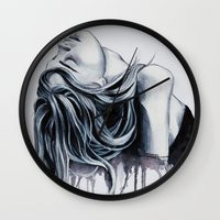 cara delevingne Wall Clocks featuring Cara Delevingne by Asquared2Art