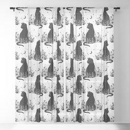 Night Garden Cat Sheer Curtain
