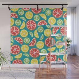 Vitamin C Super Boost - Citric Fruits on Petroleum Wall Mural