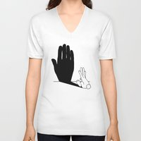 novelty V-neck T-shirts featuring Rabbit Talk to the Hand Shadow by Mobii