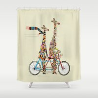 giraffe Shower Curtains featuring giraffe days lets tandem by bri.buckley