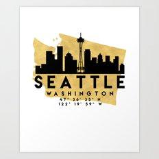 SEATTLE WASHINGTON SILHOUETTE SKYLINE MAP ART Art Print
