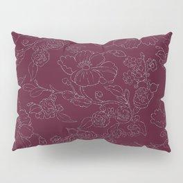 Chic burgundy silver glitter elegant flowers pattern Pillow Sham