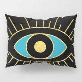 Black and Teal Evil Eye Pillow Sham