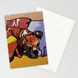 Whimsical Boxer Dog Illustration Stationery Cards