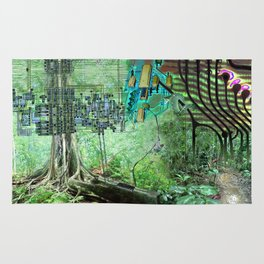Digital Circuit Jungle Tree, creatures of the electronic age Rug