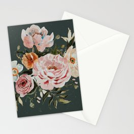 Loose Peonies and Poppies on Vintage Green Stationery Cards