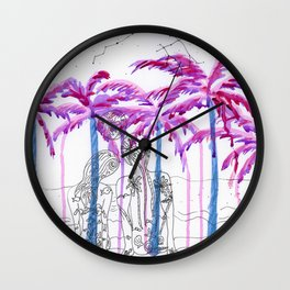 Lovers on purple beach  Wall Clock