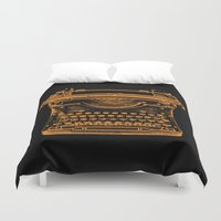typewriter Duvet Covers featuring Typewriter by Jessica Slater Design & Illustration