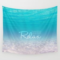 relax Wall Tapestries featuring RELAX by I Love Decor