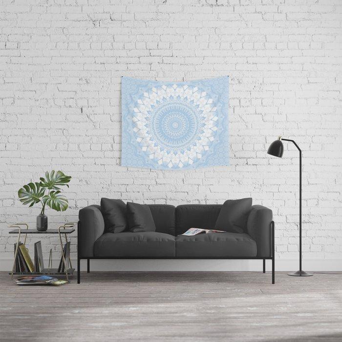Baby Blue Boho Mandala Wall Tapestry