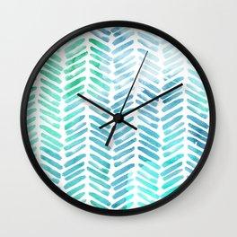 Handpainted Chevron pattern - light green and aqua - stripes #Society6 Wall Clock