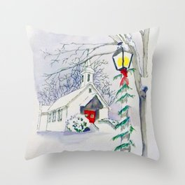 Christmas Church Throw Pillow