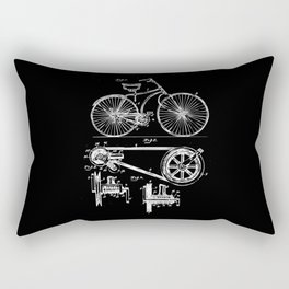 Retro Vintage Bike Lover Print Patent Cycling Gift Rectangular Pillow