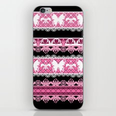 Black and pink striped pattern . iPhone & iPod Skin