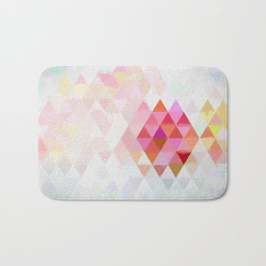 Abstract pink pastell triangle pattern- Watercolor illustration Bath Mat