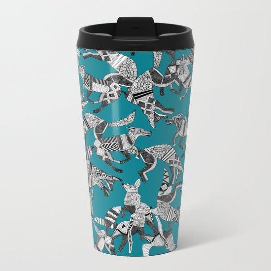 woodland fox party teal blue Metal Travel Mug