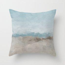 Ocean Horizon Sandy Sunny Beach Day Clear Blue Skies Abstract Nature Painting Art Print Wall Decor  Throw Pillow