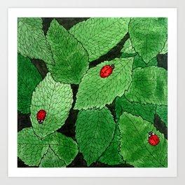 Ladybug Leaf Pattern Art Print