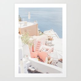 Santorini Pink Hues Art Print