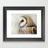 Barn Owl Watercolor | Birds Of Prey Wild Animals Owls Framed Art Print
