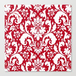 Paisley Damask Red and White Pattern Canvas Print