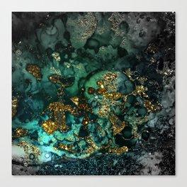 Gold Indigo Malachite Marble Canvas Print