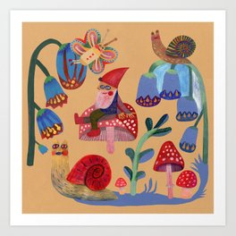 Gnome, snails and butterfies Art Print