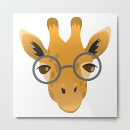 Nerdy giraffe in glasses Metal Print