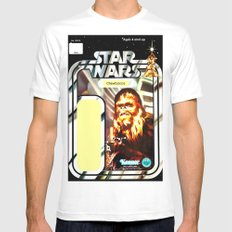 Chewbacca Vintage Action Figure Card MEDIUM White Mens Fitted Tee