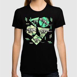 90's Dinosaur Skeleton Neon Pattern T-shirt