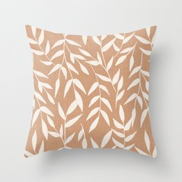 Foliage on Taupe Throw Pillow