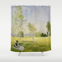 monet Shower Curtains featuring Summer by Claude Monet by Palazzo Art Gallery