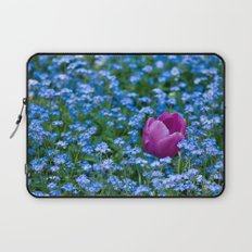 Pink Tulip in the blue Laptop Sleeve