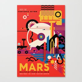NASA Retro Space Travel Poster #9 Mars Canvas Print