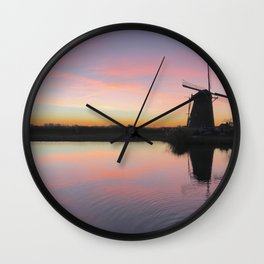 Sunset at Kinderdijk in Holland Wall Clock