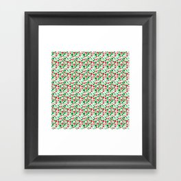 Circle Pattern Holiday Red Green and White Framed Art Print