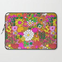 60's Groovy Garden in Neon Peach Coral Laptop Sleeve