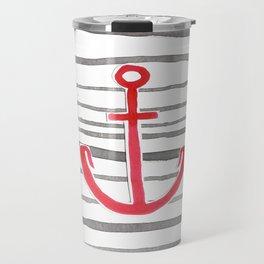 Anchor Symbol - Stripes RED Travel Mug