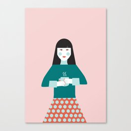 Coffee Break Woman Canvas Print