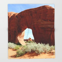 At The End Of The Trail - Pine Tree Arch Throw Blanket