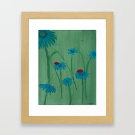 Ladybugs Blue Framed Art Print
