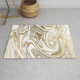 Stylish white faux gold foil elegant marble Rug
