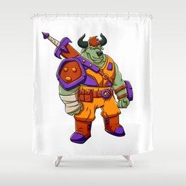 Bull warrior cartoon illustration Shower Curtain