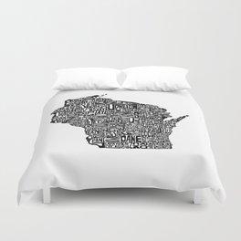 Typographic Wisconsin Duvet Cover